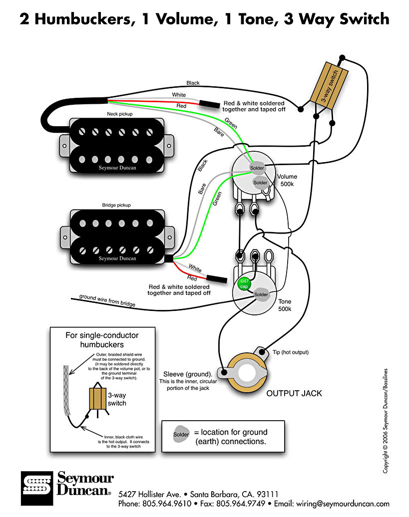 3 Pickup Wiring Diagram : Dimarzio humbucker wiring diagram get free image about